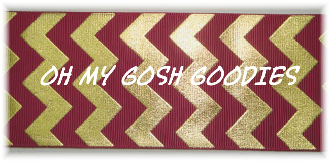 1.5 MAROON GOLD FOIL CHEVRON - 5 YARDS