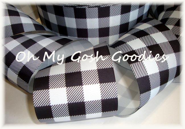 "3"" * CLASSIC * WHITE BLACK BUFFALO PLAID CHECK - 5 YARDS"