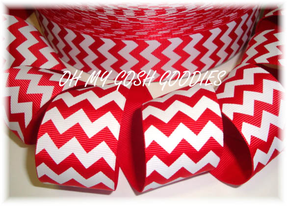 1.5 OOAK CHEVRON STRIPE RED WHITE - 3 YARDS