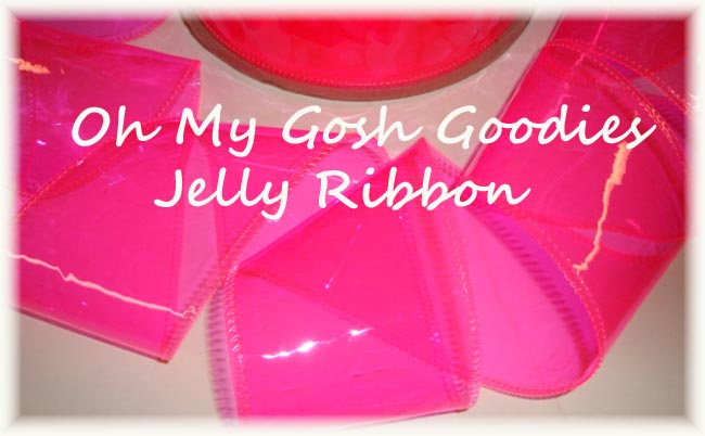 "3"" * NEON PINK * JELLY RIBBON PLASTIC TRANSPARENT RIBBON - 5 YARDS"