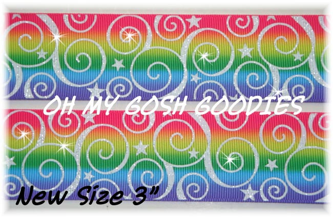 "3"" OOAK RAINBOW SWIRLS & STARS GLITTER - 2 1/2 YARDS"
