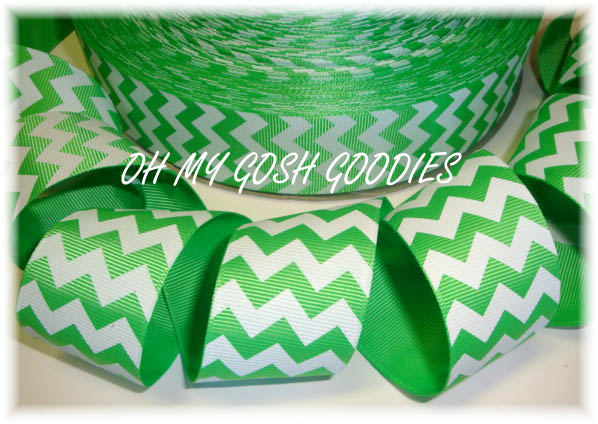 1.5 OOAK CHEVRON STRIPE LIME WHITE - 3 YARDS