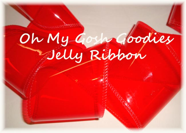 "3"" * RED * JELLY RIBBON PLASTIC TRANSPARENT RIBBON - 5 YARDS"