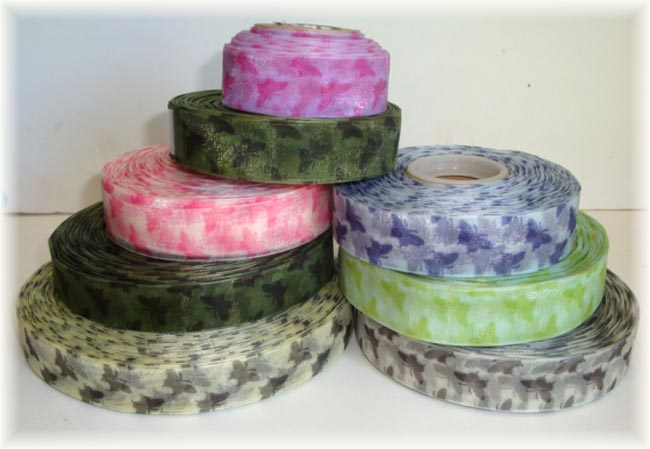 "500 YARDS - OOAK - VENUS RIBBON 7/8"" ASSORTED SHEER BUTTERFLY"