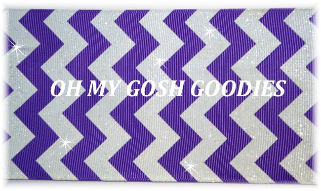 3 GLITTER PURPLE WHITE CHEVRON STRIPE - 5 YARDS