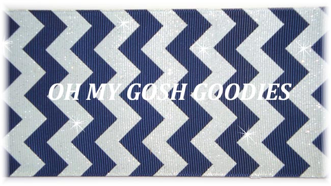 "3"" * IRREGULAR * GLITTER NAVY WHITE CHEVRON - 5 YARDS"