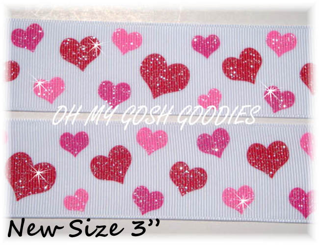 "3"" RED PINK GLITTER HEARTS - 5 YARDS"
