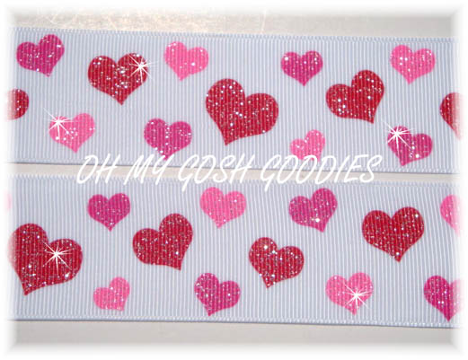 1.5 RED PINK GLITTER HEARTS - 5 YARDS