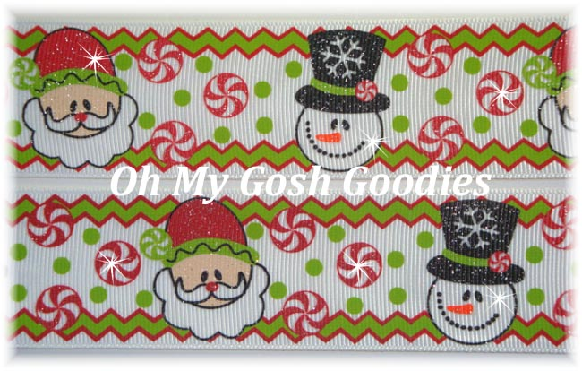 1.5 GLITTER HOLIDAY MAGIC SANTA & SNOWMEN - 5 YARDS