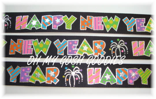 7/8 HAPPY NEW YEAR BLACK - 5 YARDS