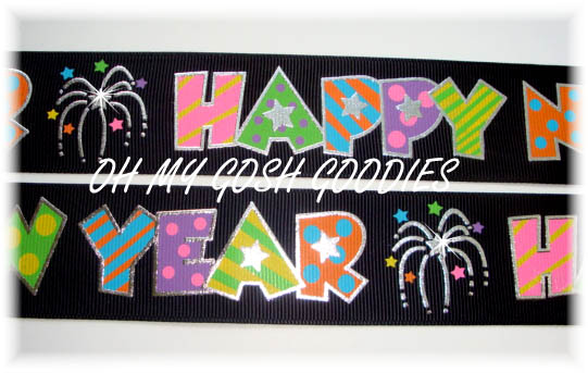1.5 HAPPY NEW YEAR BLACK - 5 YARDS