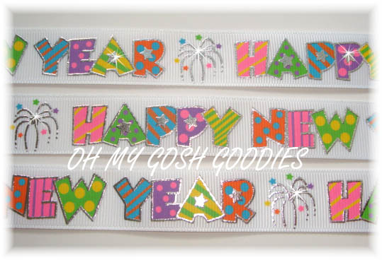 7/8 HAPPY NEW YEAR WHITE - 5 YARDS