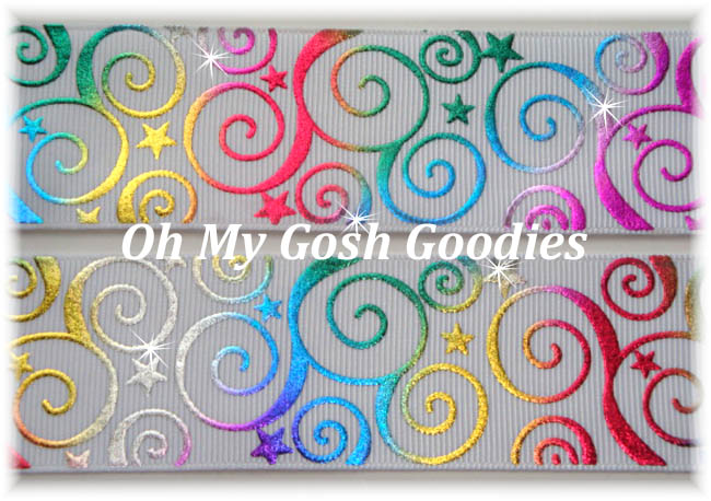 2 1/4 OOAK METALLIC  SWIRLS & STARS RAINBOW  WHITE -  3 YARDS