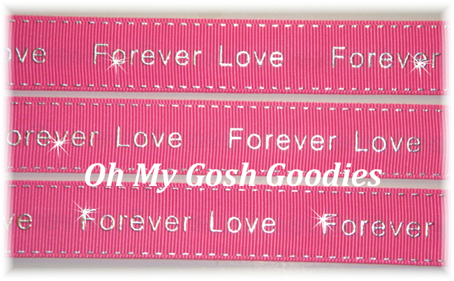7/8 FOREVER LOVE METALLIC STITCH HOT PINK - 5 YARDS