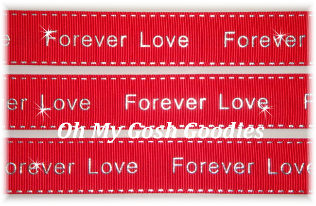 7/8 FOREVER LOVE METALLIC STITCH RED - 5 YARDS