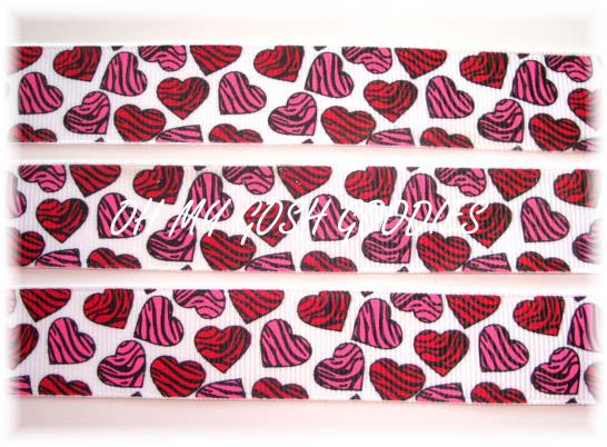 7/8 HOT PINK RED ZEBRA HEARTS - 5 YARDS