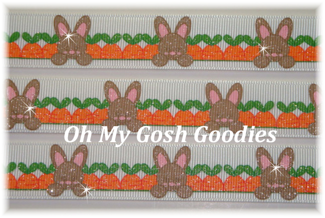 7/8 CARROT PATCH GLITTER EASTER BUNNIES - 5 YARDS