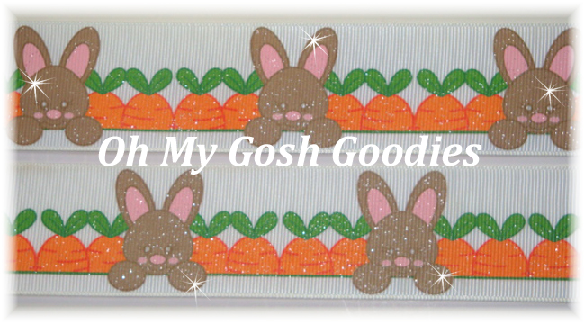 1.5 CARROT PATCH GLITTER EASTER BUNNIES - 5 YARDS