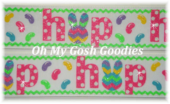 1.5 JELLYBEAN HOP CHEVRON BUNNY WHITE - 5 YARDS
