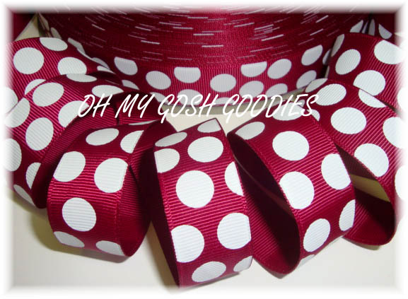 7/8 IRREGULAR  MAROON PINK JUMBO DOTS - 5 YARDS
