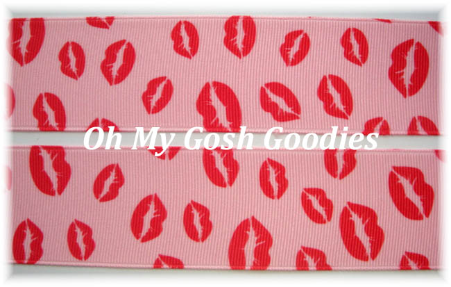 7/8 PINK RED KISS ME BABY LIPS - 5 YARDS
