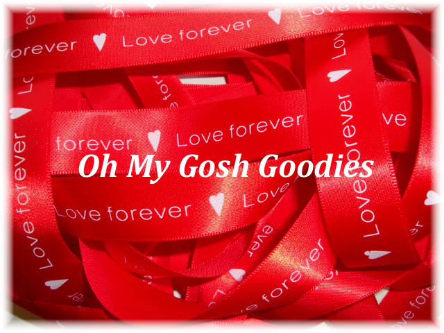 7/8 RED *SATIN* LOVE FOREVER - SALE - 5 YARDS