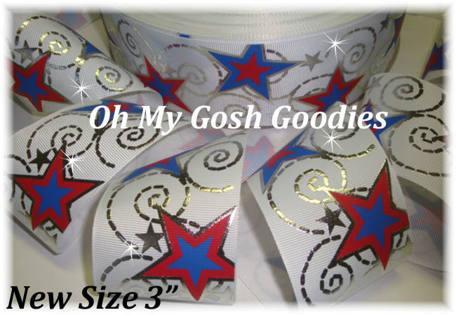 "3"" OOAK PATRIOTIC FOIL STAR BLING - 4 YARDS"