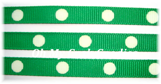 3/8 GREEN WHITE HOT DOTS - 5 YARDS