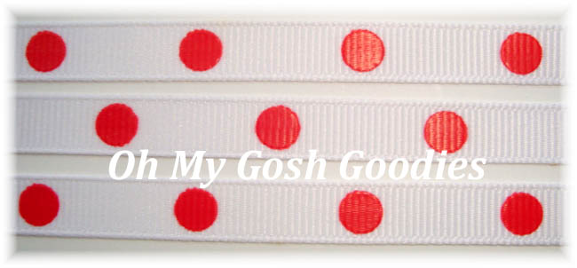 3/8 * WHITE *  RED HOT DOTS - 5 YARDS