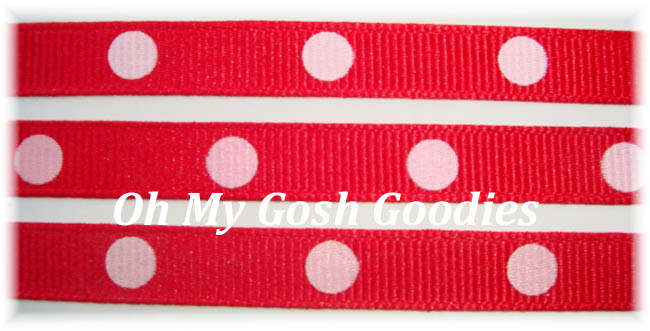 3/8 RED WHITE HOT DOTS - 5 YARDS