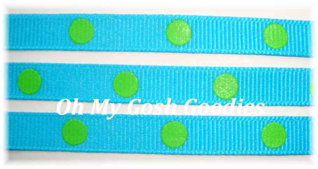 3/8 TURQUOISE LIME HOT DOTS - 3 YARDS