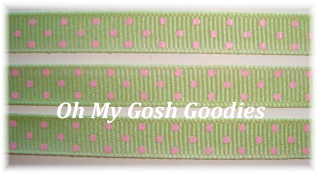 3/8 LIME PINK SWISS DOTS - 5 YARDS