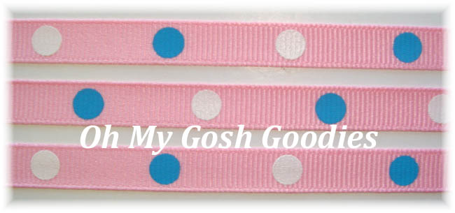 3/8 PINK BLUE WHITE HOT DOTS - 5 YARDS