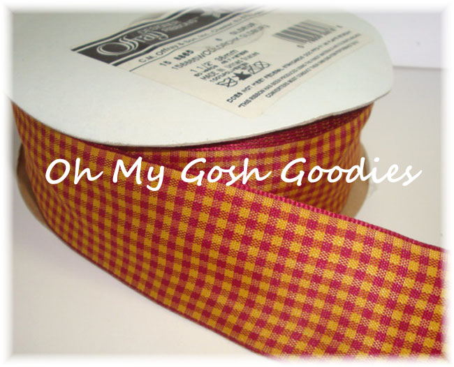 1.5 SUNSET GOLD RED WIRED OFFRAY TAFFETA CHECK - 5 YARDS