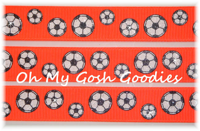 7/8 NEON ORANGE GLITTER SOCCER BALL - 5 YARDS