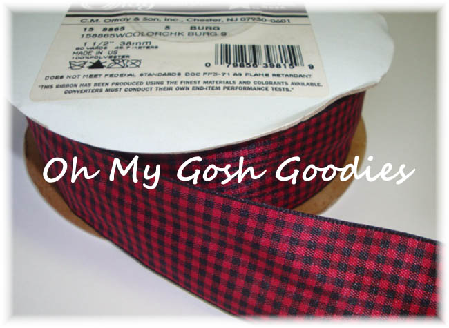 1.5 RED BLACK WIRED OFFRAY TAFFETA CHECK - 5 YARDS