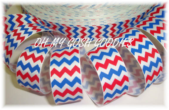 7/8 OOAK WHITE RED ROYAL CHEVRON - 3 YARDS