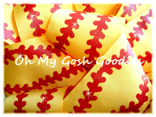 "3"" YARD WAVE RED GLITTER STITCH SOFTBALL YELLOW -  5 YARDS"