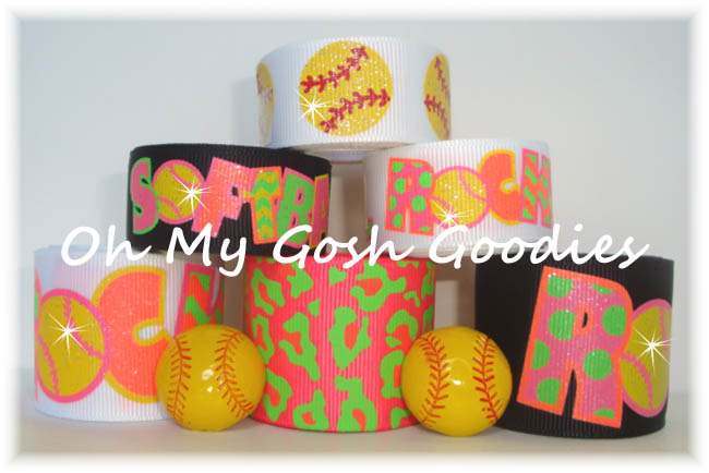 NEON SOFTBALL ROCKS GLITTER RIBBON MIX