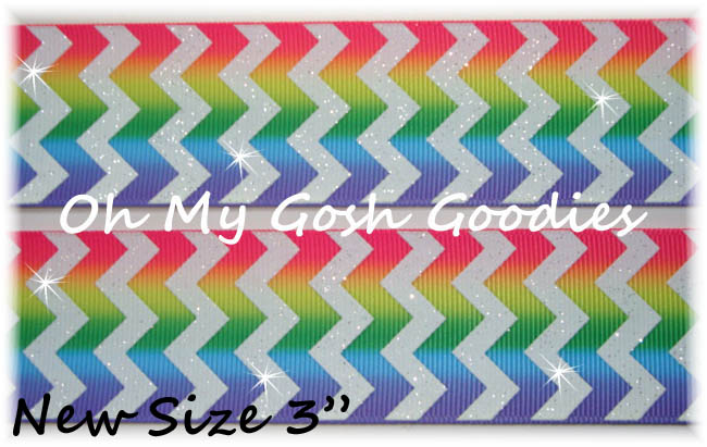 "3"" RAINBOW STRIPE CHEVRON GLITTER - 5 YARDS"