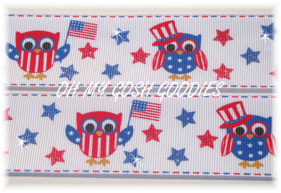 1.5 PATRIOTIC GLITTER OWLS - 5 YARDS