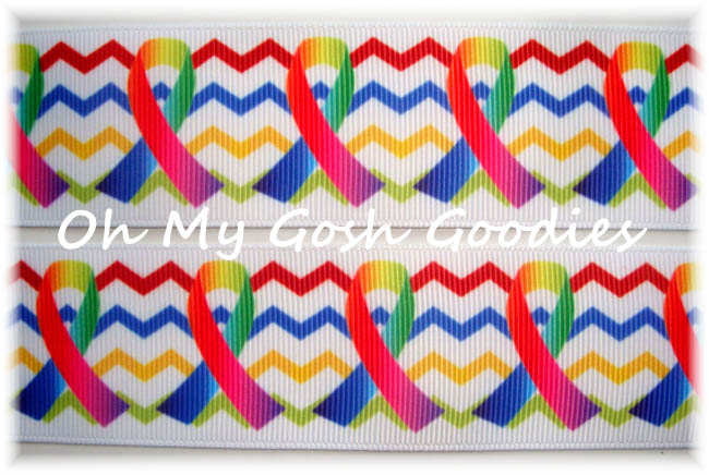 1.5 CHEVRON RAINBOW RIBBON AUTISM AWARENESS - 5YD