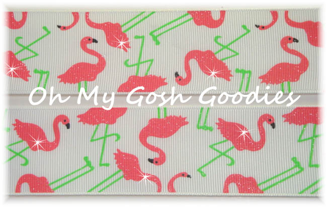 1.5 GLITTER CORAL FLAMINGO FUN - 5 YARDS