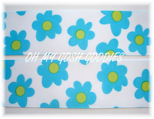 1.5 GROOVY TURQ LIME FLOWERS - 5 YARDS