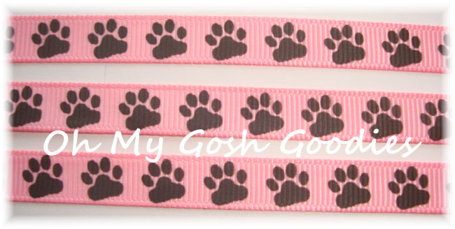3/8 PUPPY PAWS PINK / BROWN - 5 YARDS