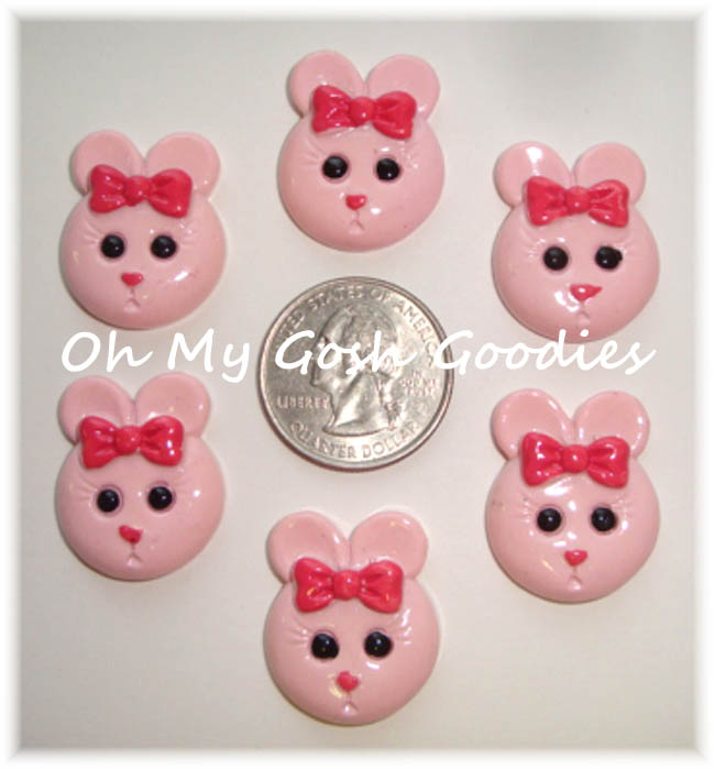 2PC EASTER PINK BOW BUNNY RESINS