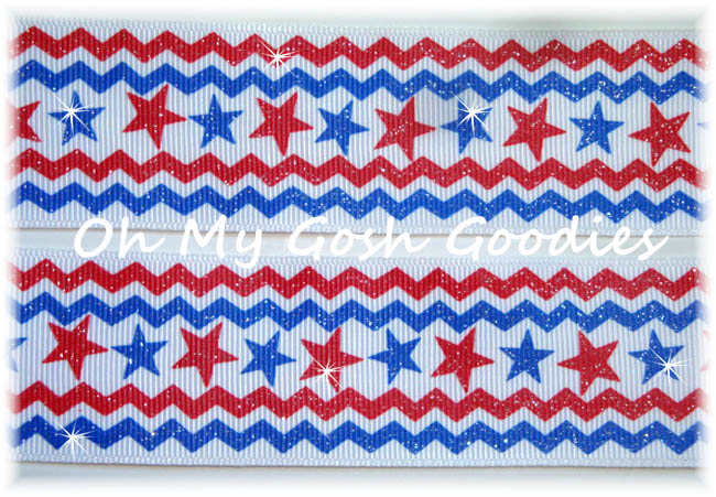 1.5 GLITTER CHEVRON STARS - 5 YARDS