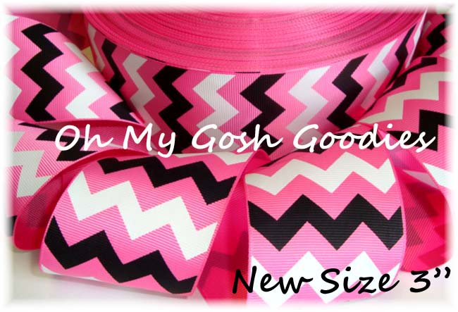 "3"" HOT PINK  BLACK WHITE CHEVRON - 5 YARDS"