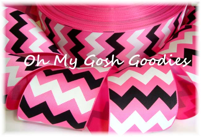 2 1/4 HOT PINK  BLACK WHITE CHEVRON - 5 YARDS