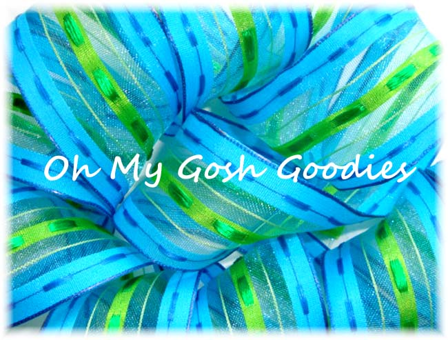 1.5 TURQUOISE LIME SHEER STITCH STRIPE - 5 YARDS